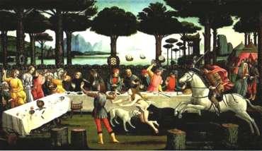 """La scena della """"caccia infernale"""", citata anche nel """"Decameron"""" ci mostra come fossero disposti i tavoli durante un banchetto."""